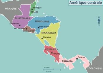 Carte des pays d'Amérique Centrale
