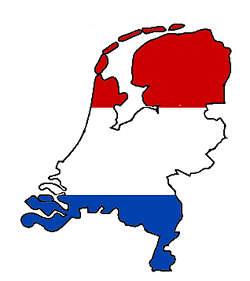 Drapeau hollandais sur fond de carte des Pays-Bas