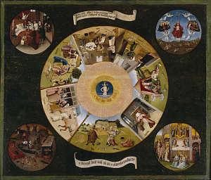 Les Sept Péchés capitaux et les Quatre Dernières Étapes humaines, peinture de Jérôme Bosch, vers 1500.