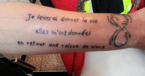 Beaucoup, beaucoup, beaucoup de fautes d'orthographe sur un tatouage que l'on espère temporaire pour son porteur !