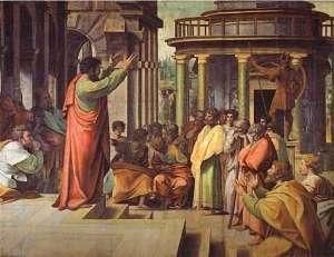 Saint Paul prêchant à Athènes, peint par Raphaël, 1513-1514.