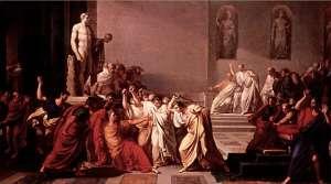 L'assassinat de Jules César aux Ides de Mars peint Vincenzo Camuccini en 1798.