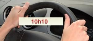 Les mains à 10h10 sur le volant