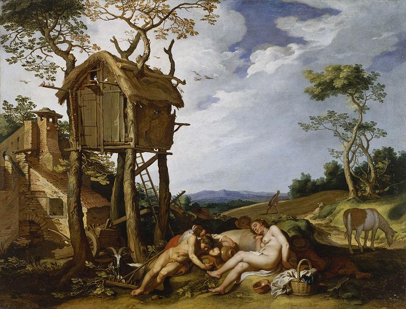 Illustration de l'oisiveté et de la paresse par Abraham Bloemaert en 1624.