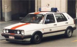 Une (ancienne) voiture de la gendarmerie belge.