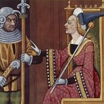 Athalie, épouse de Joram, roi de Juda, dans la Bible. Miniature du XVème siècle.