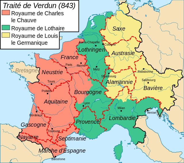 La répartition des territoires de l'Empire Carolingien après le Traité de Verdun en 843.