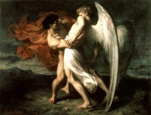 "Alexander Louis Leloir, ""Jacob Wresling With the Angel"", 1865."