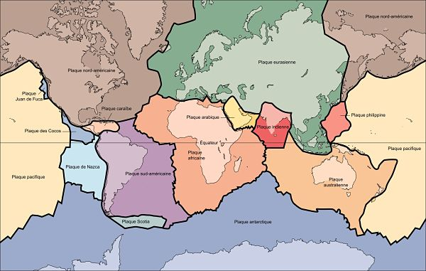 Les quatorze plaques tectoniques.