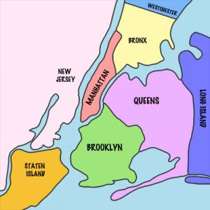 Les cinq boroughs de la ville de New York