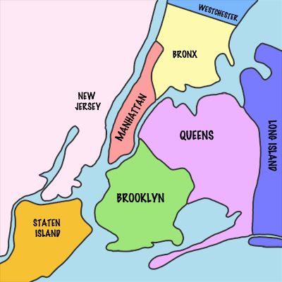 Les cinq boroughs de la ville de New York