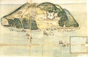 """Carte de l'Île de la Tortue (Saint Domingue), repaire des célèbres flibustiers """"Les Frères de la Côte"""", fin du 17ème."""