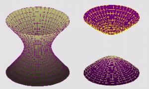 A gauche, une hyperboloïde à une nappe, à droite, une hyperboloïde à deux nappes.