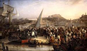 Napoléon quittant l'Île d'Elbe, peinture de Joseph Beaume (1836).
