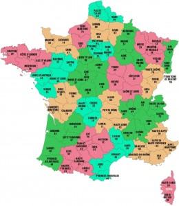 Les départements de la France métropolitaine et leurs numéros.
