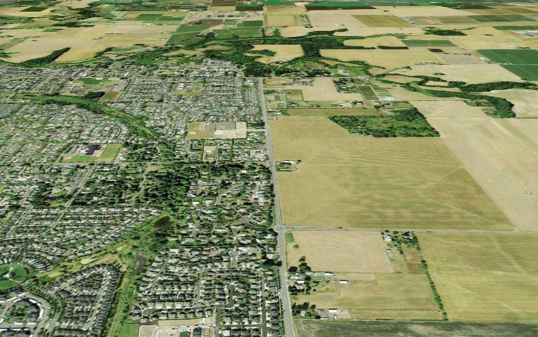 Frontière nette entre le milieu urbain et le milieu rural de Portland, Oregon, États-Unis
