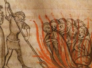 Templiers sur le bûcher, anonyme, 1384.