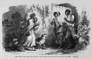 Élisa raconte à Oncle Tom qu'il a été vendu à Augustin St. Clare, elle décide de fuir pour sauver son enfant. Illustration réalisée par Hammatt Billings pour la première édition en 1852.