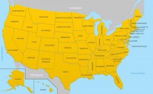 Carte des États-Unis avec le nom de chacun des 50 états.