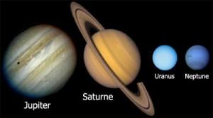 Les quatre planètes à anneaux (ou ceinture) de notre système solaire: Jupiter, Saturne, Uranus et Neptune.