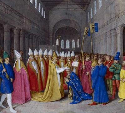 Sacre de Charlemagne, enluminure de Jean Fouquet, 1455.