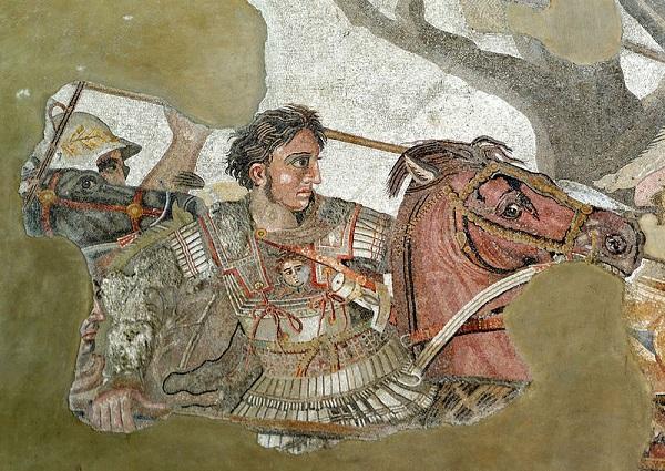 Alexandre le Grand sur son cheval Bucéphale lors de la bataille d'Issos, mosaïque romaine de Pompéi, conservée à Naples.