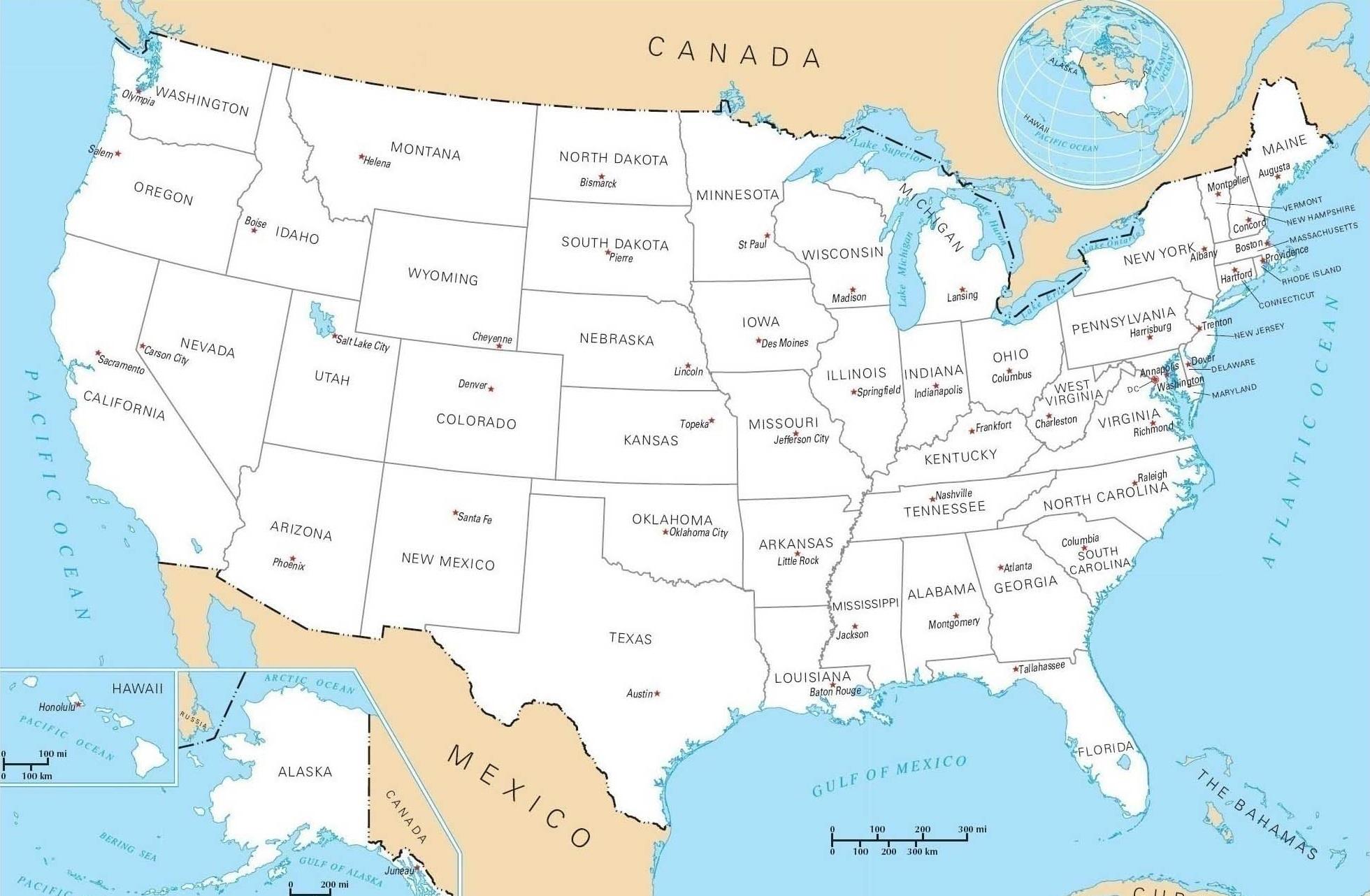 Carte des Etats-Unis et de leurs 50 états.