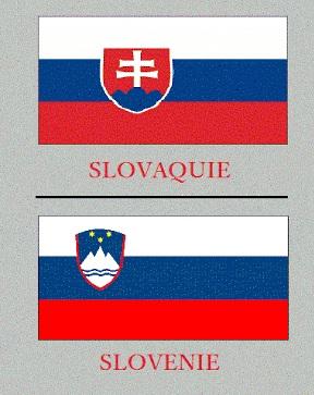 Drapeaux de la Slovaquie et de la Slovénie.