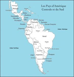 Carte des pays d'Amérique Centrale et d'Amérique du Sud.