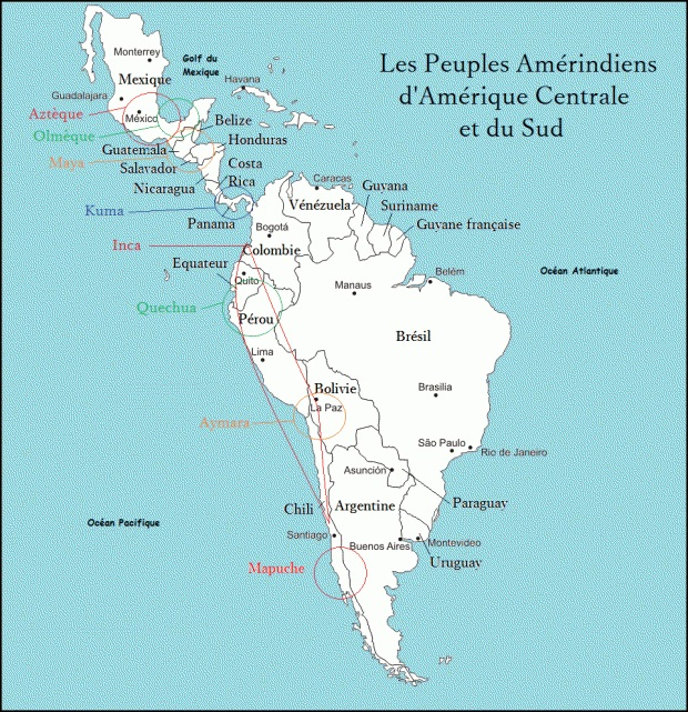 Carte des peuples indigènes, autochtones, d'Amérique Centrale et d'Amérique du Sud, présents avant l'arrivée et la colonisation des Européens.