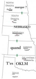 États-Unis du Sud: Texas, Kanasas, Nebraska, Dakota