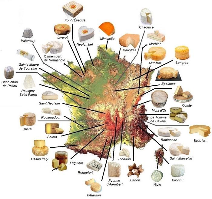 Les fromages français par région