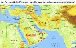 Carte des pays du Golfe Persique avec l'ensemble des mnémos pour les retenir !