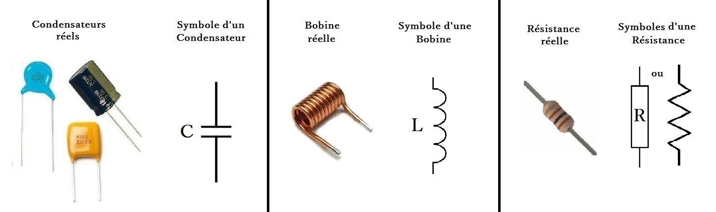 résistance_condensateur_bobine_symbole_éléctricité