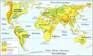 Carte géographique du monde physique, reliefs et altitudes