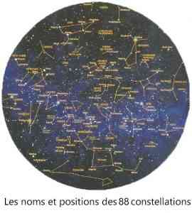Les 88 constellations: noms et positions.