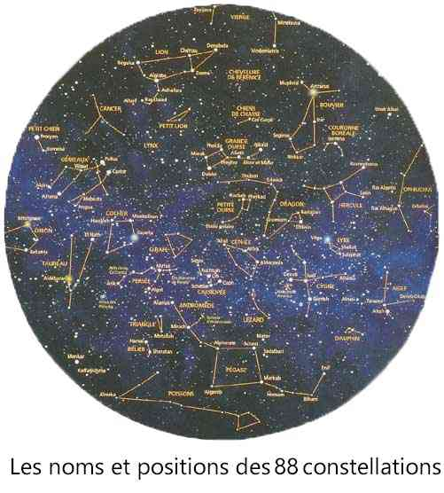 Les 88 constellations: noms et positions.