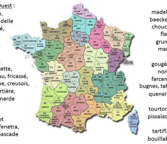 Carte gastronomique de la France