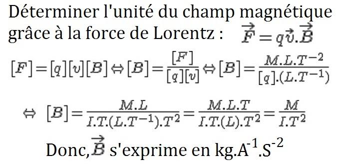 déterminer_unité_champ_magnétique_grâce_force_de_lorentz_tesla