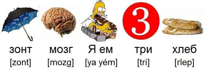 parapluie_зонт_cerveau_мозг_je_mange_Я_ем_trois_три_pain_хлеб