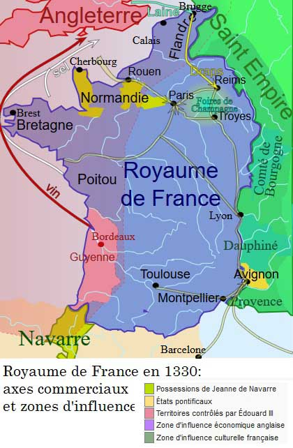 La Guerre de Cent Ans en images: carte de la France en 1330