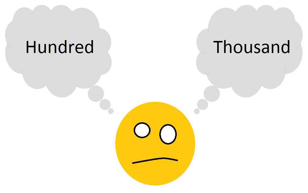 astuce en anglais sur la différence entre thousand et hundred
