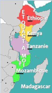 les pays qui longent madagascar