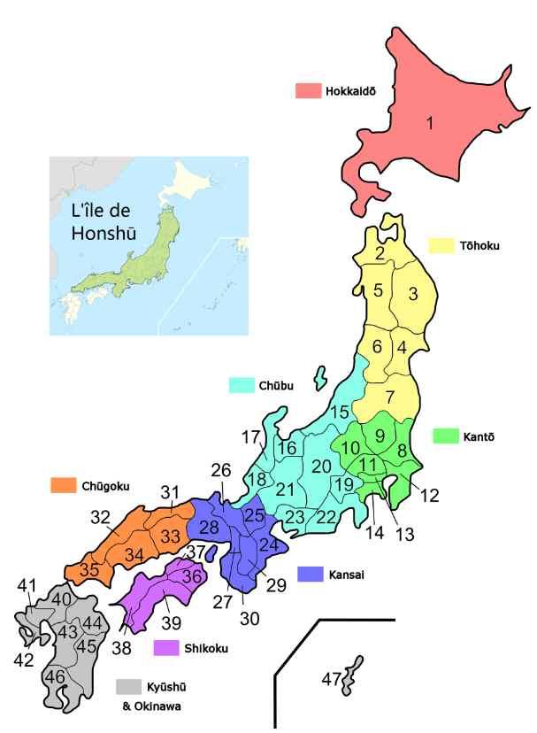 les régions du Japon