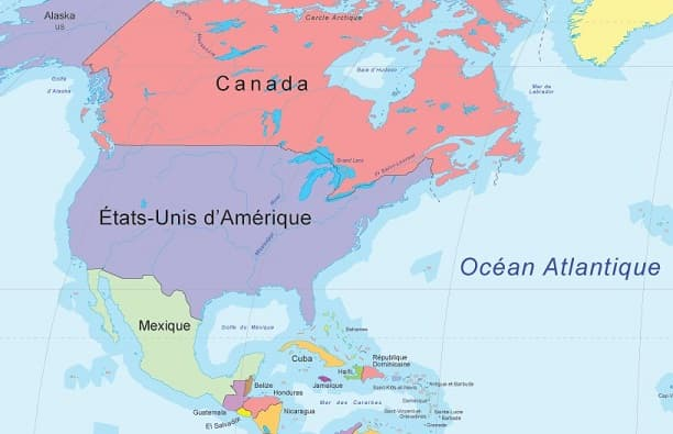 Carte des trois pays d'Amérique du Nord: Canada, États-Unis, Mexique.