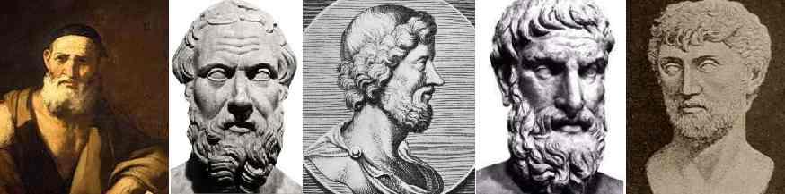 Leucippe, Démocrite, Aristippe, Épicure, Lucrèce
