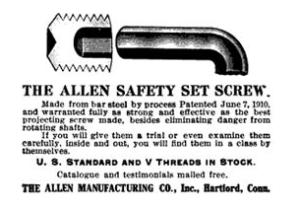 Une publicité des vis et des clefs Allen datant des années 1910
