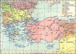 Carte des pays et des langues parlées dans l'Empire Ottoman et dans les Balkans en 1913.