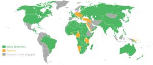 Carte des belligérants en 1917 lors de la Première Guerre Mondiale