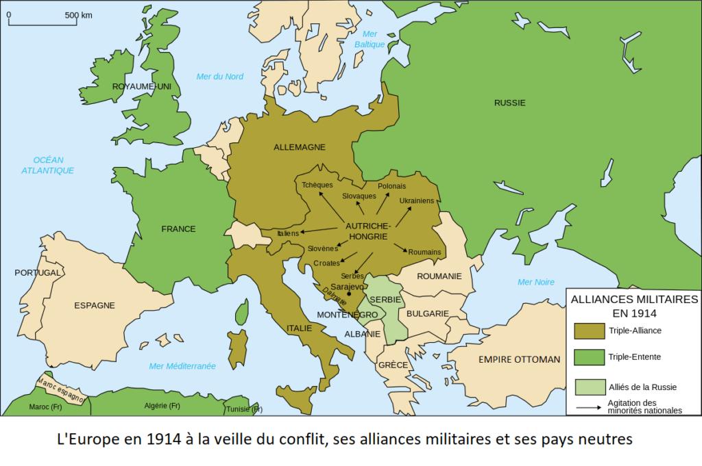 La carte politique de l'Europe à la veille du conflit. Discernons trois ensembles: les pays de la Triple-Entente (France, Royaume-Uni, Russie); ceux de la Triplice (Italie, Allemagne, Autriche-Hongrie); les pays neutres (Belgique, Pays-Bas, Suisse, Espagne,...); les pays alliés et soutenus par la Russie (Serbie, Monténégro)